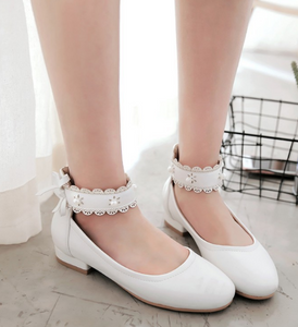 Women Girls Low Heels Shoes Ankle Straps Bow Tie