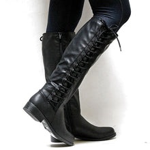 Load image into Gallery viewer, Women's Lace Up Tall Knight Boots