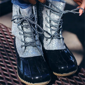Women's Lace Up Sequined Short Boots