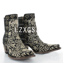 Load image into Gallery viewer, Women's Embroidered Side Zipper Thick Heel Short Boots