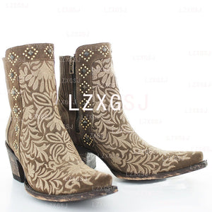 Women's Embroidered Side Zipper Thick Heel Short Boots