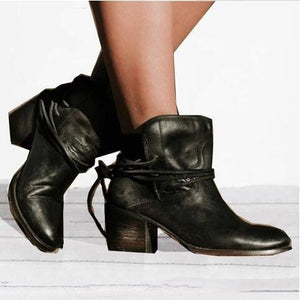 Women Round Head Square Heel Lace Up Short Boots