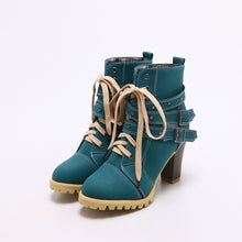 Load image into Gallery viewer, Autumn and Winter Round Head Belt Buckle Rivets Thick Heel Ankle Boots