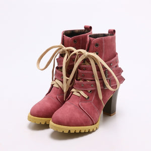 Autumn and Winter Round Head Belt Buckle Rivets Thick Heel Ankle Boots