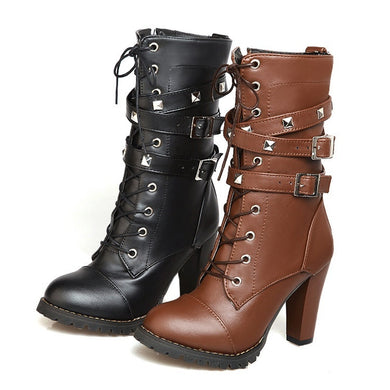 Women's Side Zipper Rivet Thick Heel Mid Calf Boots High Heel Lace Up Martin Boots