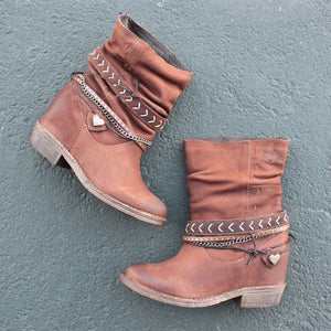 Ladies zipper belt buckle boots for autumn and winter