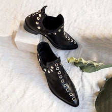 Load image into Gallery viewer, Lady Artificial Leather Pointed Rivets Boots