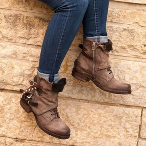 Women's Belt Buckle Rivet Low Heel Ankle Bootie