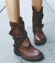 Load image into Gallery viewer, Woman Round Head Artificial Leather Belt Buckle Square Heel Short Boots