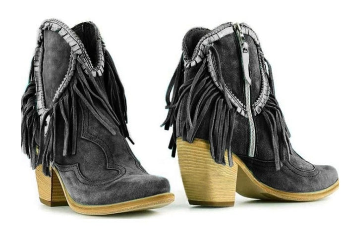 Women's Fringe Thick Heel Short Boots
