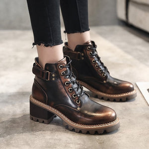 Women's Metal Trimmed Chunky Heel Lace Up Short Boots