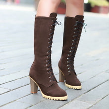 Load image into Gallery viewer, Women's Cross Straps Platform Chunky Heels Tall Boots
