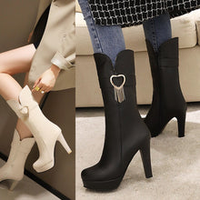 Load image into Gallery viewer, Women's High Heels Love Shaped Platform Short Boots