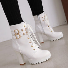 Load image into Gallery viewer, Women's High Heels Lace Up Rivets Platform Short Boots