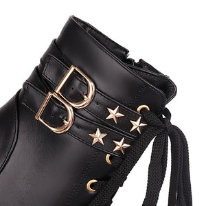 Women's High Heels Lace Up Rivets Platform Short Boots