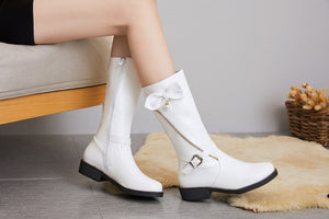 Women's Bow Tie Mid Calf Boots
