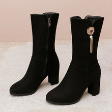 Load image into Gallery viewer, Women's Tassel Chunky Heeled Mid Calf Boots