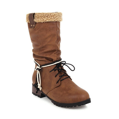 Wool Mid Calf Bots Woman Shoes