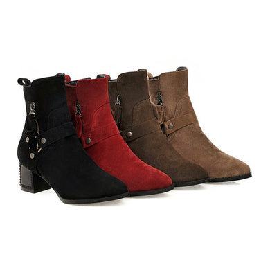 Women's Belt High Heeled Ankle Boots