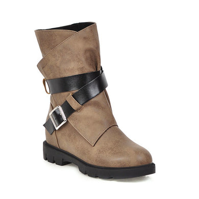 Buckle Belt Mid Calf Bots Woman Shoes
