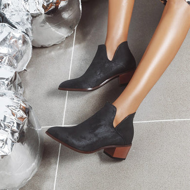 Pointed Toe Women's High Heeled Ankle Boots