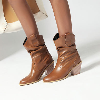 Women's High Heeled Chunky Heel Ankle Boots