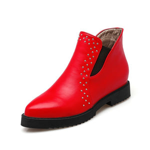 Women's Rivets Wedges Heeled Short Boots Shoes Woman