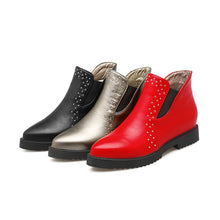 Load image into Gallery viewer, Women's Rivets Wedges Heeled Short Boots Shoes Woman
