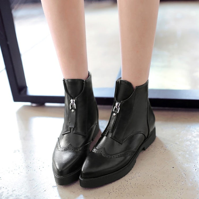 Pointed Toe Women's Short Boots Shoes Woman