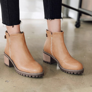 Women's Thick Heeled Short Boots Shoes Woman