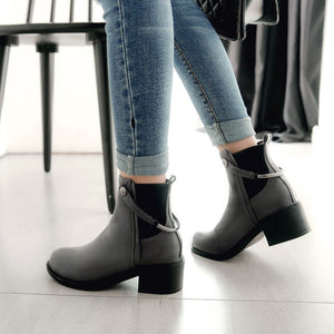 Women's Chunky Heeled Short Boots Shoes Woman