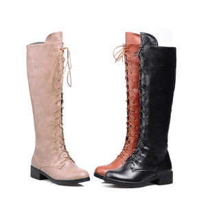 Lace Up Women's Tall Boots Shoes Woman