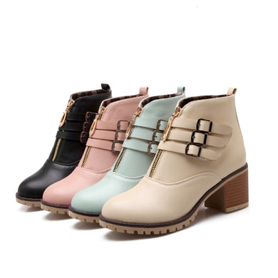 Women's Buckle Belt Short Boots Shoes Woman