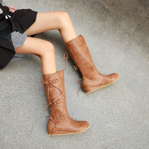 Women's Suede Wedges Heeled Tall Boots Shoes Woman