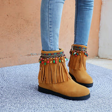 Load image into Gallery viewer, Women's Suede Tassel Wedges Boots Shoes Woman