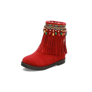 Women's Suede Tassel Wedges Boots Shoes Woman