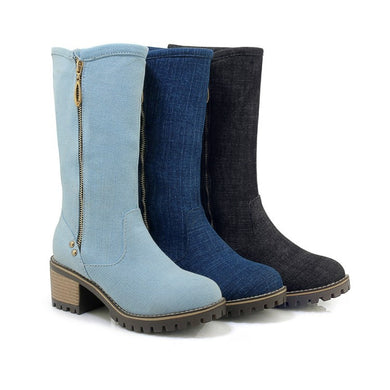 Women's Denim Mid Calf Boots Shoes Woman