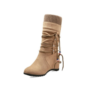 Women's Wedges Heeled Mid Calf Boots Shoes Woman