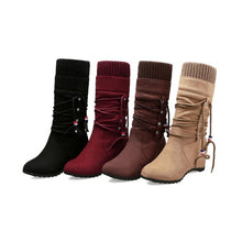 Load image into Gallery viewer, Women's Wedges Heeled Mid Calf Boots Shoes Woman