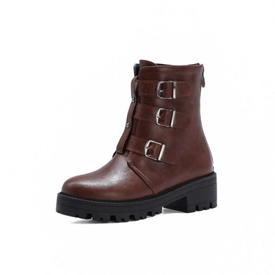 Women's Buckle Short Boots Shoes Woman