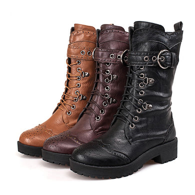 Women's Lace Up Mid Calf Knight Boots Shoes Woman