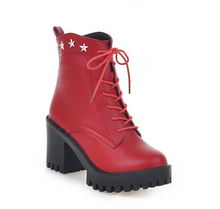 Load image into Gallery viewer, Studded Lace Up High Heels Ankle Boots Women Shoes New Arrival