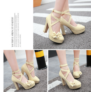 Bow and Cross Strap Women Pumps High Heels Dress Shoes 4408