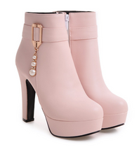 Load image into Gallery viewer, Buckle Ankle Boots Women High Heels Shoes Fall|Winter