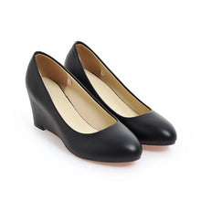 Load image into Gallery viewer, Round Head Wedge Heel Women Pumps Shoes