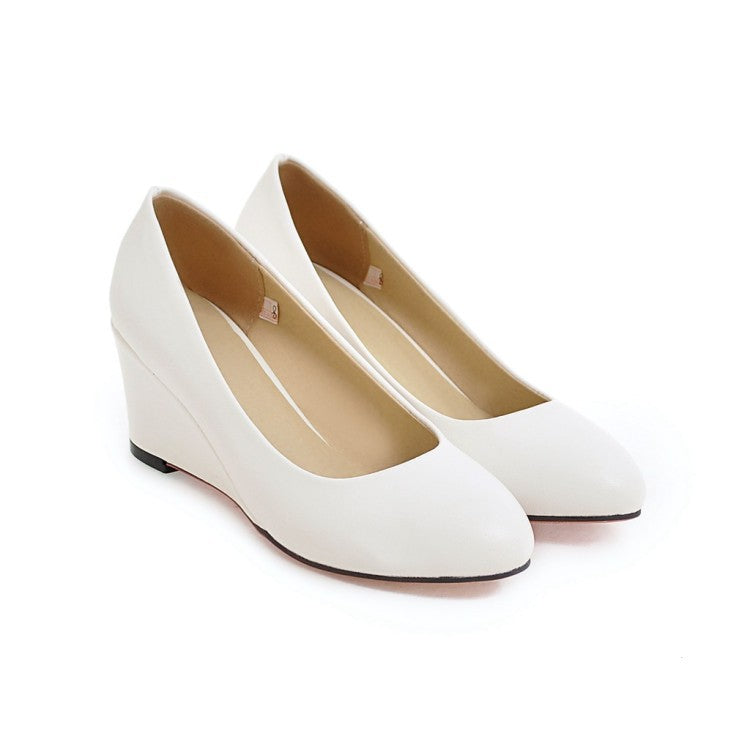 Round Head Wedge Heel Women Pumps Shoes