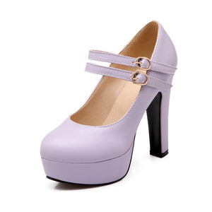 High Heel Buckle Platform Pumps