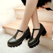 Load image into Gallery viewer, T Straps Women Pumps Buckle Platform Shoes Woman 3401