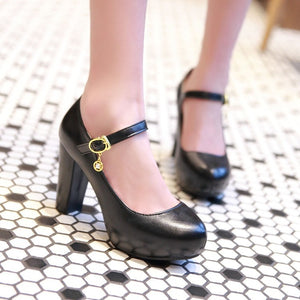 Sweet Princess High Heel Round Head Platform Pumps