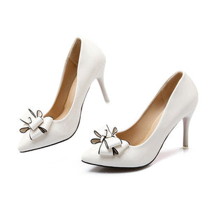Bow Tie High Heel Patent Leather Women Pumps